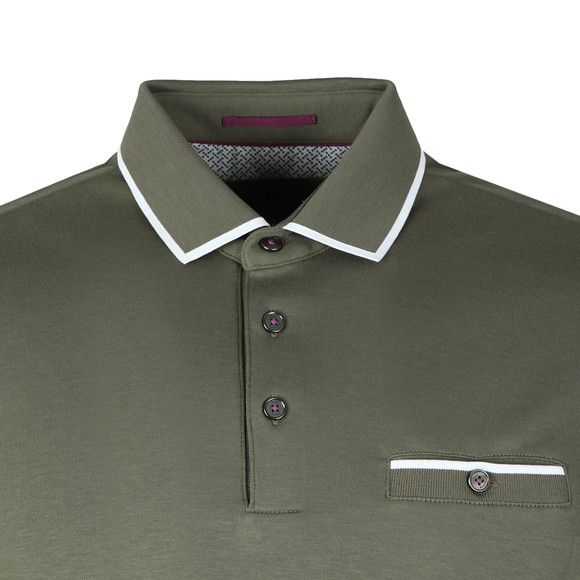Ted Baker Mens Green Jelly Flat Knit Collar Polo Shirt main image