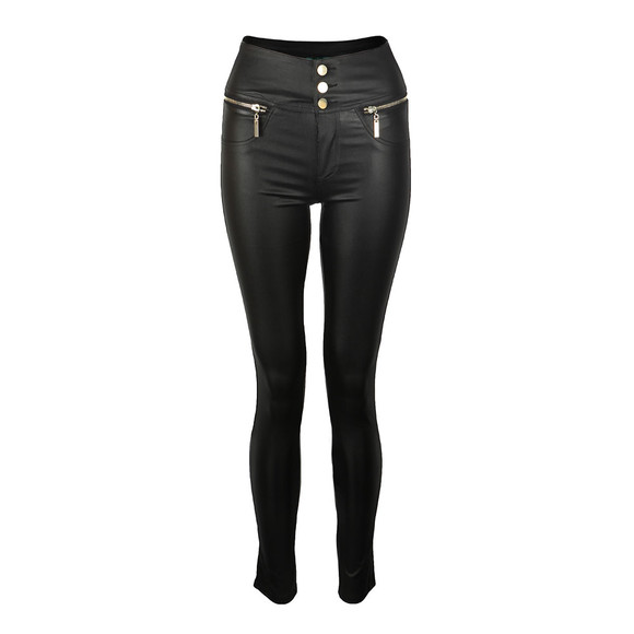 Holland Cooper Womens Black Skinny Leather Look Trouser main image