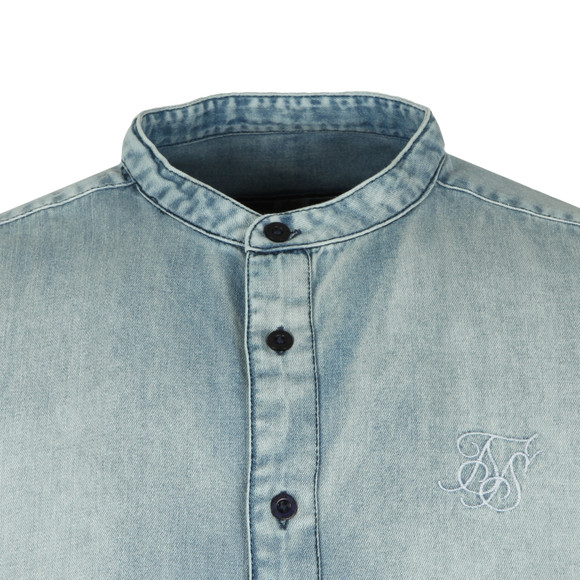 Sik Silk Mens Blue S/S Grandad Collar Shirt main image