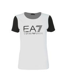 EA7 Emporio Armani Womens White Contrast Sleeve Tee