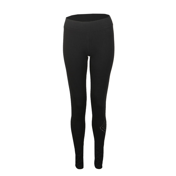 EA7 Emporio Armani Womens Black Metallic Side Logo Leggings