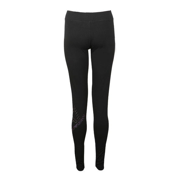 EA7 Emporio Armani Womens Black Metallic Side Logo Leggings main image