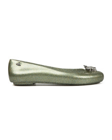 Vivienne Westwood Anglomania X Melissa Womens Green Space Love 20 Glitter Bee Shoe