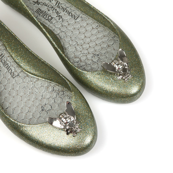 Vivienne Westwood Anglomania X Melissa Womens Green Space Love 20 Glitter Bee Shoe main image
