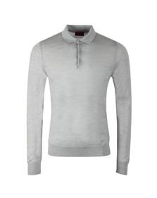 HUGO Mens Grey San Giovanni Knitted Long Sleeve Polo Shirt