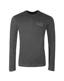 EA7 Emporio Armani Mens Grey Small Logo Long Sleeve T Shirt