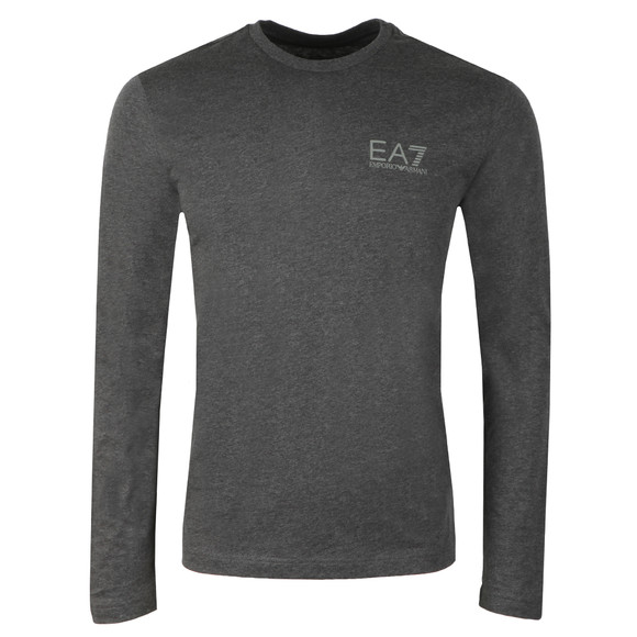 EA7 Emporio Armani Mens Grey Small Logo Long Sleeve T Shirt main image