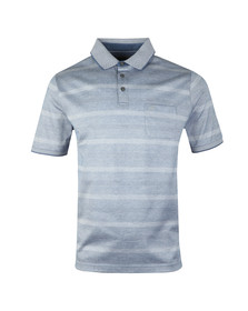 Fynch Hatton Mens Blue S/S 2 Tone Stripe Polo