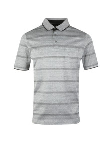 Fynch Hatton Mens Black S/S 2 Tone Stripe Polo