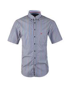 Fynch Hatton Mens Blue Maritime SS Stripe Shirt