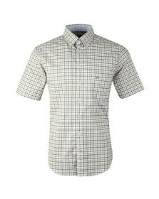 Fynch Hatton Mens Green S/S Structured 2 Tone Shirt