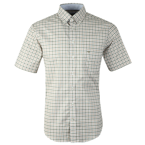 Fynch Hatton Mens Green S/S Structured 2 Tone Shirt main image