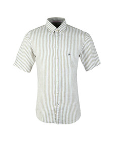 Fynch Hatton Mens Green S/S Stripe Shirt