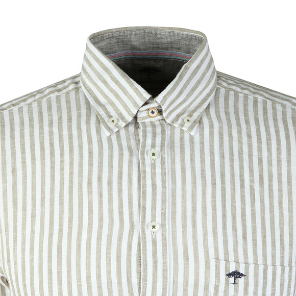 Fynch Hatton Mens Green S/S Stripe Shirt main image