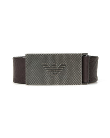 Emporio Armani Mens Brown Logo Plaque Belt