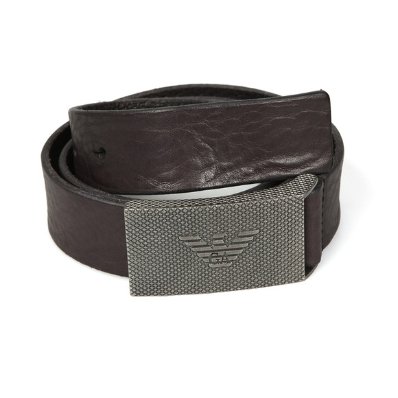 Emporio Armani Mens Brown Logo Plaque Belt main image