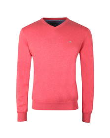 Fynch Hatton Mens Pink V-Neck Cotton Jumper