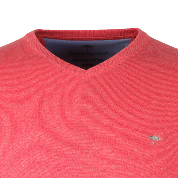 Fynch Hatton Mens Pink V-Neck Cotton Jumper main image