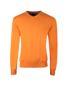 Fynch Hatton Mens Orange V-Neck Cotton Jumper