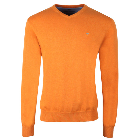 Fynch Hatton Mens Orange V-Neck Cotton Jumper main image