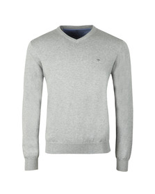 Fynch Hatton Mens Grey V-Neck Cotton Jumper
