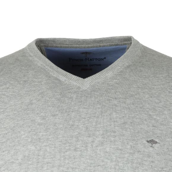 Fynch Hatton Mens Grey V-Neck Cotton Jumper main image