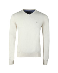 Fynch Hatton Mens Beige V-Neck Cotton Jumper