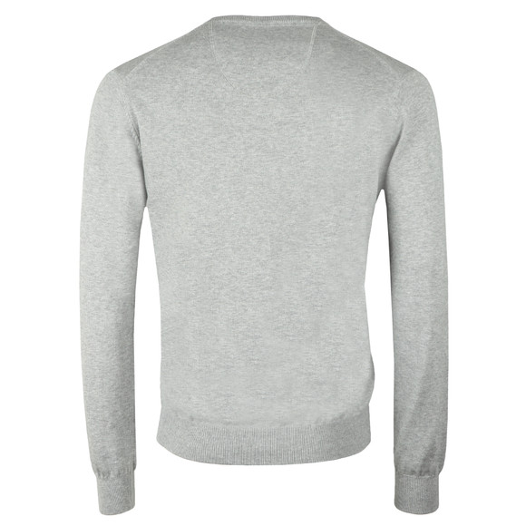Fynch Hatton Mens Grey V-Neck Cotton Jumper main image