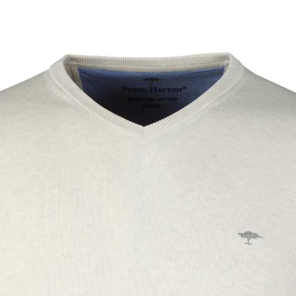 Fynch Hatton Mens Beige V-Neck Cotton Jumper main image
