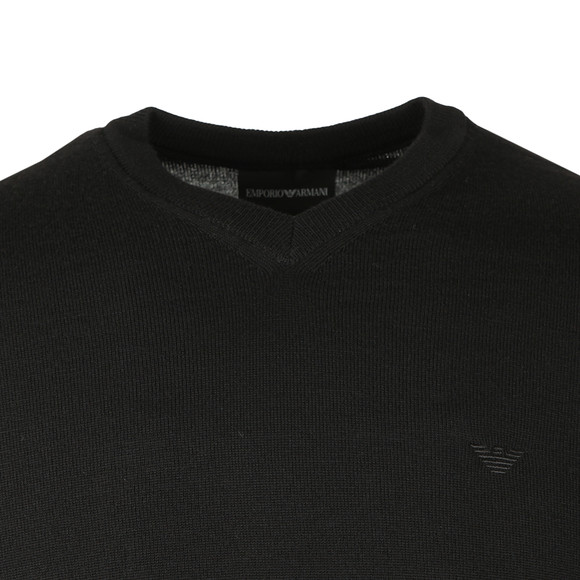 Emporio Armani Mens Black Knitted V Neck Jumper main image