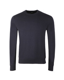 BOSS Mens Blue Casual Albonok Crew Neck Jumper