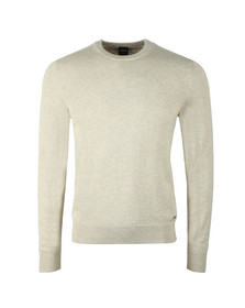 BOSS Mens Beige Casual Albonok Crew Neck Jumper