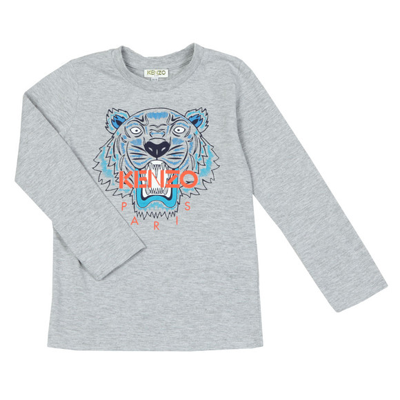 Kenzo Kids Boys Grey Boys Printed Tiger Long Sleeve T Shirt main image
