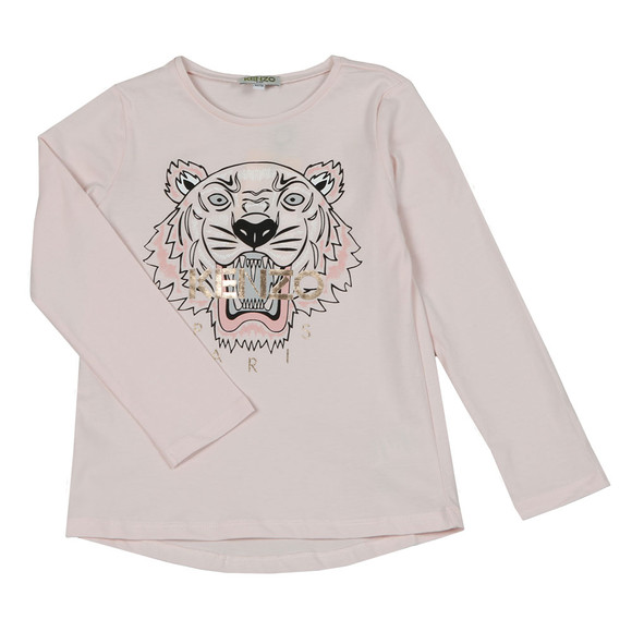Kenzo Kids Girls Pink Printed Tiger T Shirt
