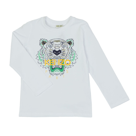 Kenzo Kids Girls White Printed Tiger T Shirt