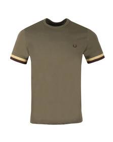Fred Perry Mens Green S/S Bold Tipped Tee