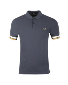 Fred Perry Mens Blue S/S Bold Cuff Polo