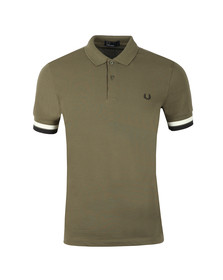 Fred Perry Mens Green S/S Bold Cuff Polo