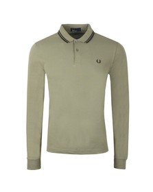Fred Perry Mens Green L/S Tipped Polo
