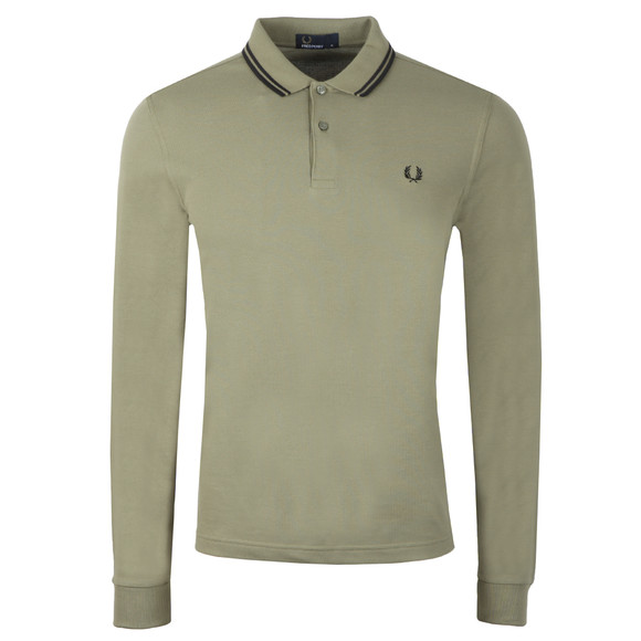 Fred Perry Mens Green L/S Tipped Polo main image