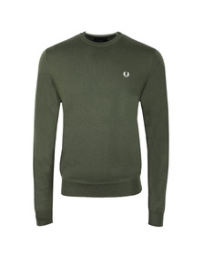 Fred Perry Mens Green Classic Crew Neck Jumper