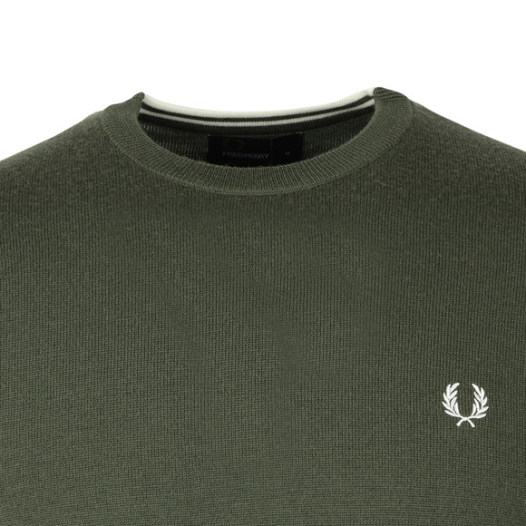 Fred Perry Mens Green Classic Crew Neck Jumper main image