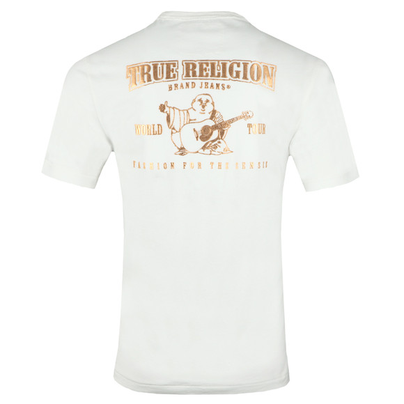 True Religion Mens Off-White Metallic Gold Buddha T Shirt main image