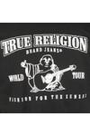 True Religion Mens Black Metallic Silver Buddha T Shirt