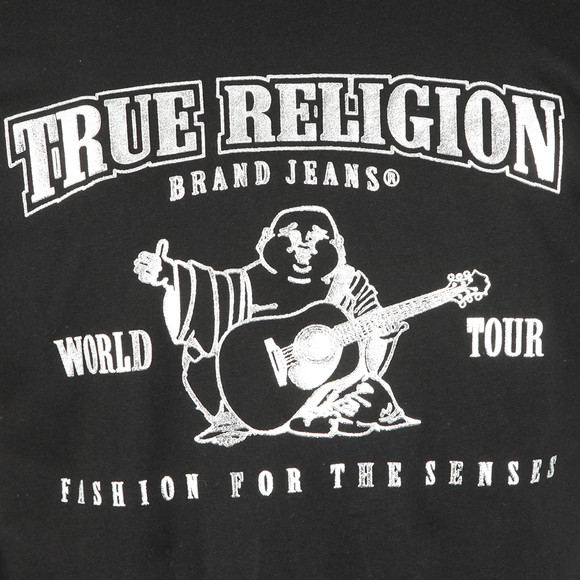 True Religion Mens Black Metallic Silver Buddha T Shirt main image