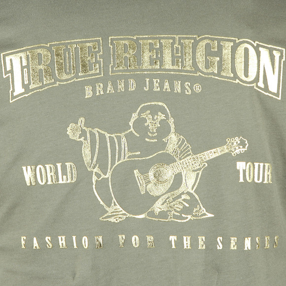 True Religion Mens Green Metallic Gold Buddha T Shirt