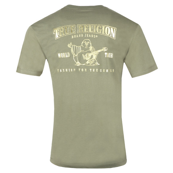 True Religion Mens Green Metallic Gold Buddha T Shirt main image