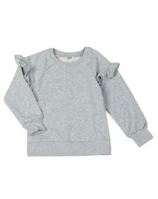 Kenzo Kids Girls Grey Ruffle Sleeve Logo Sweatshirt