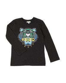Kenzo Kids Boys Black Boys Printed Tiger T Shirt