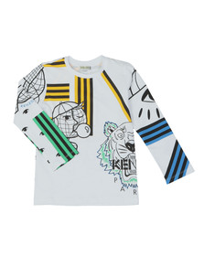 Kenzo Kids Boys White Cosmic Kenzo Long Sleeve T Shirt